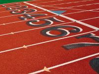 The starting line of a running track